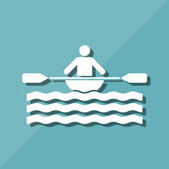 Paddler paddling on water icon